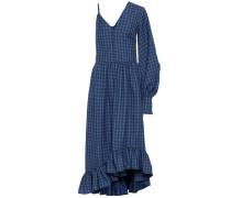 Kariertes One-Shoulder-Kleid