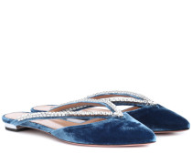 Verzierte Slippers Sabine aus Samt