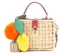 Verzierte Tasche Dolce Box aus geflochtenem Bambus und Leder