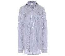 Gestreiftes Oversize-Hemd aus Seide