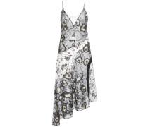 Bedrucktes Kleid aus Crêpe de Chine und besticktem Tüll