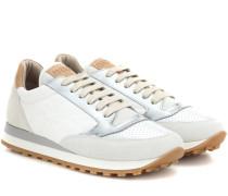 Sneakers Paper Effect mit Velours- und Metallic-Leder