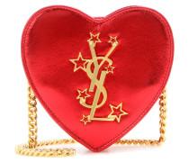 Crossbody-Tasche Mini Love Heart aus Metallic-Leder