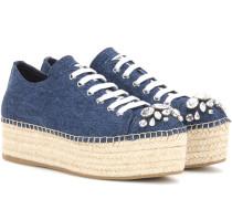 Verzierte Espadrille-Sneakers aus Denim