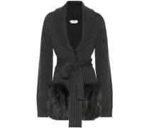 Pullover aus Wolle und Mohair mit Pelz