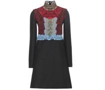 Kleid aus Schurwolle und Seide mit Spitze