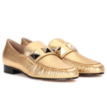 Garavani Loafers aus Metallic-Leder