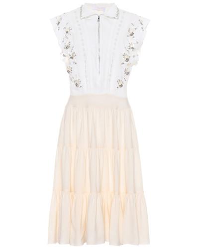 Verziertes Minikleid aus Seiden-Cady
