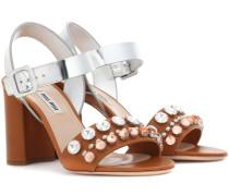Sandaletten aus Leder und Metallic-Leder