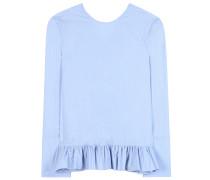 Bluse aus Baumwollpopeline mit Rückenausschnitt und Volant