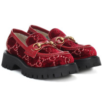 Loafers aus Samt und Leder