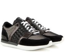 Sneakers aus Veloursleder und Intrecciato-Leder
