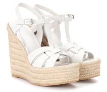 Espadrille-Sandalen mit Keilabsatz aus Leder