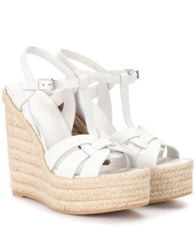 Saint Laurent Damen Espadrille-Sandalen mit Keilabsatz aus Leder