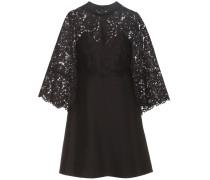 Kleid aus einem Schurwoll-Seidengemisch mit Spitze