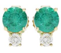 Ohrringe aus 18kt Gelbgold mit Smaragden und weißen Diamanten