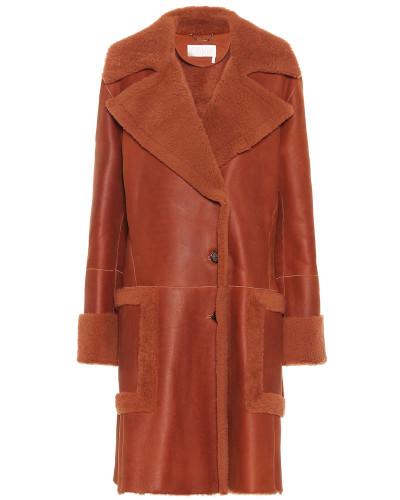 Mantel aus Leder und Sheraling