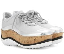 Plateau-Sneakers mit Metallic-Leder