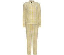 Zweiteiliger Seiden-Pyjama mit Print