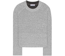 Cropped-Pullover aus Metallic-Strick