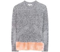 Pullover aus einem Woll-Baumwollgemisch mit Faux Fur