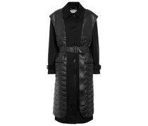 Mantel aus Wolle und Lederimitat
