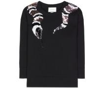 Bestickter Sweater aus Baumwollscuba