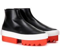 Ankle Boots aus Leder mit Plateau