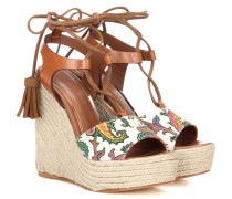 Wedge-Sandalen mit Leder