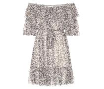 Schulterfreies Kleid aus Seidenchiffon