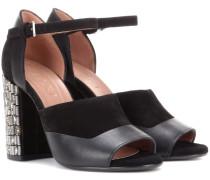 Sandaletten aus Veloursleder und Leder