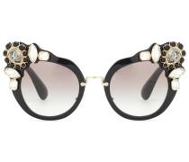 Kristallverzierte Cat-Eye-Sonnenbrille