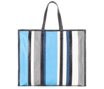 Gestreifter Shopper Bazar L aus Leder