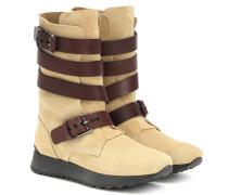 Stiefel aus Veloursleder und Leder