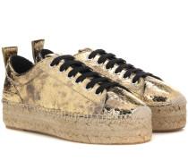 Plateau-Sneakers aus Metallic-Leder