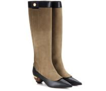 Verzierte Stiefel aus Velours- und Glattleder