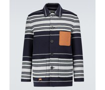 Gestreifte Hemdjacke aus Wolle