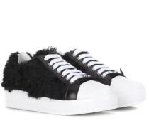 Leder-Sneakers mit Faux Fur