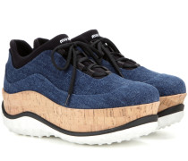Denim-Sneakers mit Plateausohle