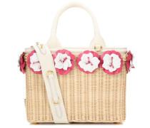 Korbtasche mit Blüten und Leder