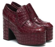 Pleateau-Loafers aus geprägtem Leder