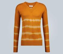 Batik-Pullover mit V-Ausschnitt