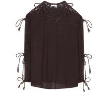 Bluse aus Lochstrick mit Schleifen
