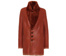 Mantel aus Leder mit Shearling