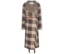 Karierter Mantel aus Wolle und Baumwolle mit Leder