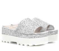 Plateau-Slippers mit Glitter