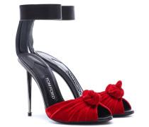 Sandalen aus Samt und Leder
