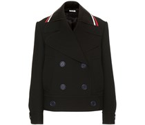 Jacke aus Schurwolle mit Lederbesatz