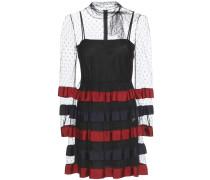 Kleid aus Tüll mit eingewebten Punkten, Streifen und Schleife