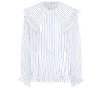 Gestreifte Bluse aus Baumwolle und Seide